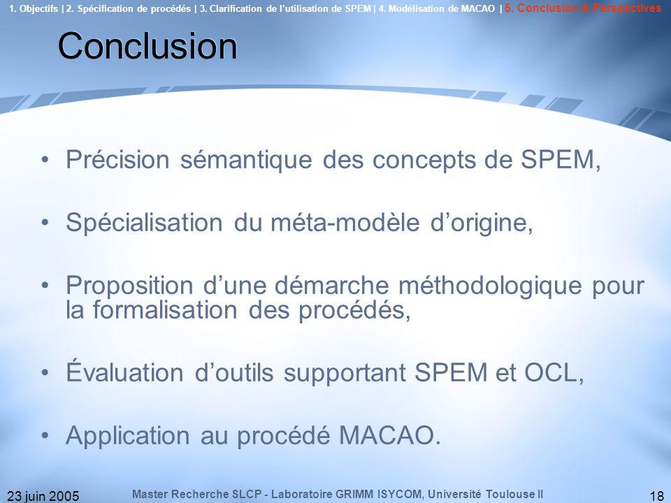 Conclusion Précision sémantique des concepts de SPEM,