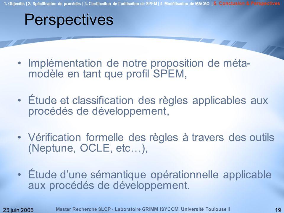 1. Objectifs | 2. Spécification de procédés | 3