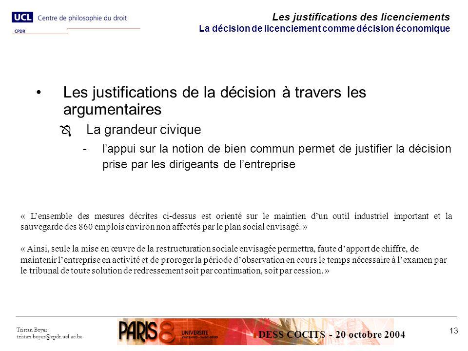 Les justifications de la décision à travers les argumentaires