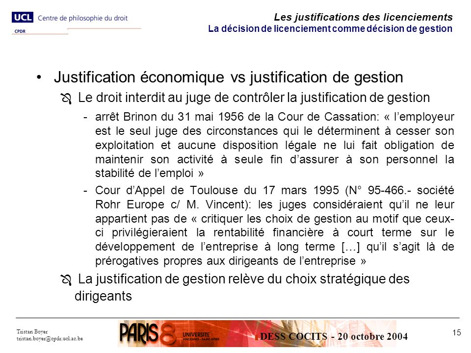 Justification économique vs justification de gestion