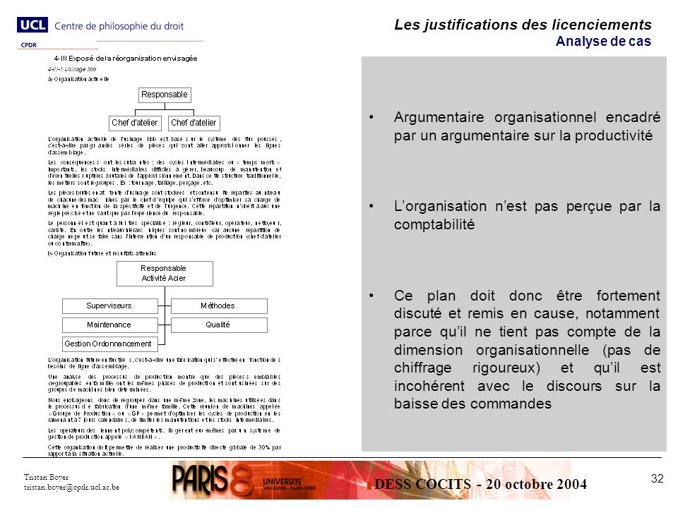 Les justifications des licenciements