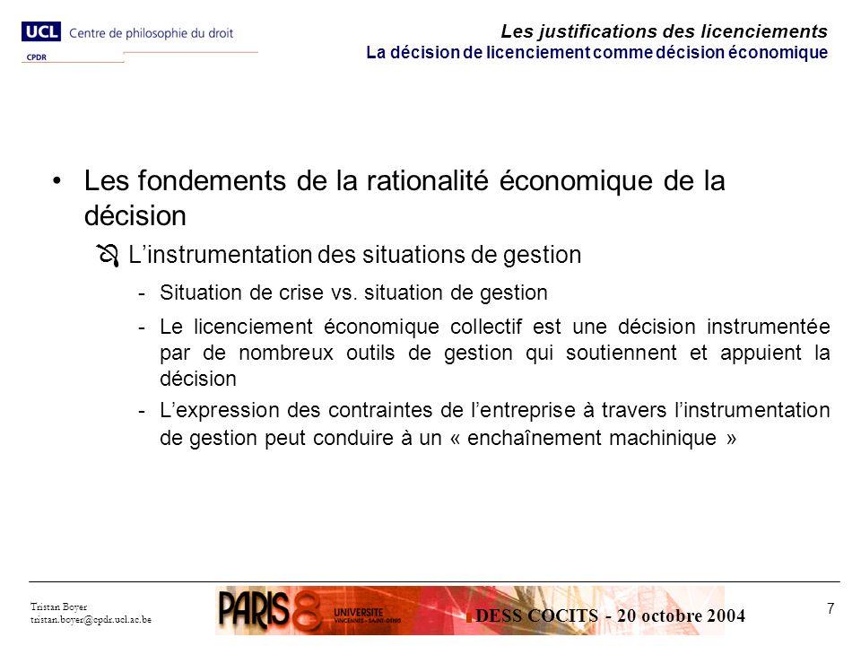 Les fondements de la rationalité économique de la décision
