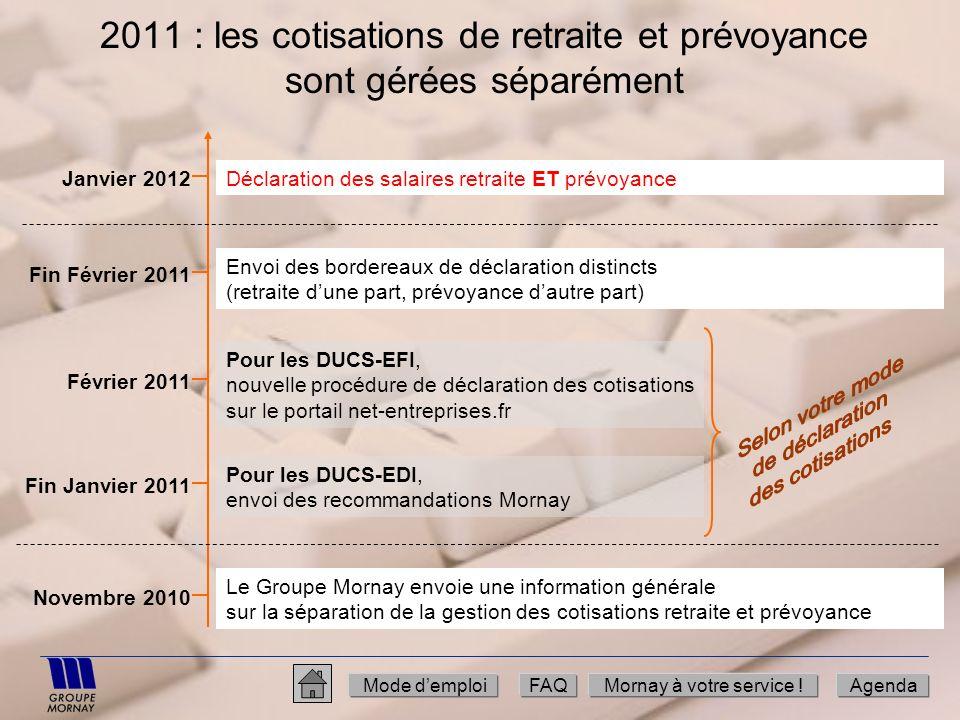 2011 : les cotisations de retraite et prévoyance sont gérées séparément