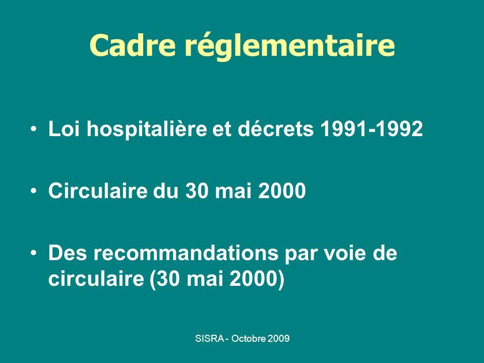 Cadre réglementaire Loi hospitalière et décrets 1991-1992