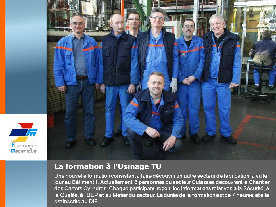 La formation à l'Usinage TU