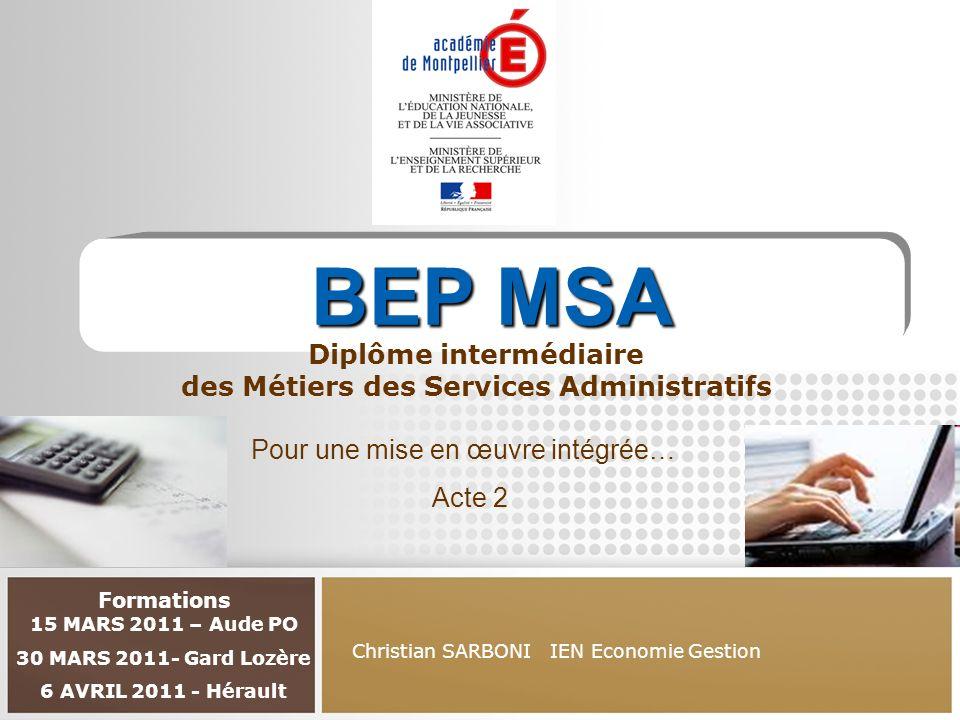 BEP MSA Diplôme intermédiaire des Métiers des Services Administratifs