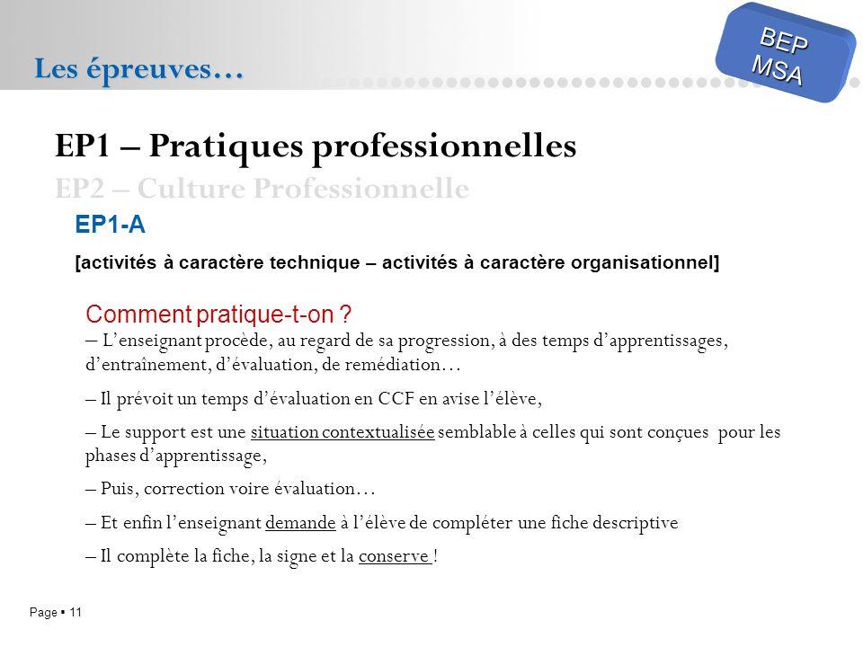 EP1 – Pratiques professionnelles EP2 – Culture Professionnelle