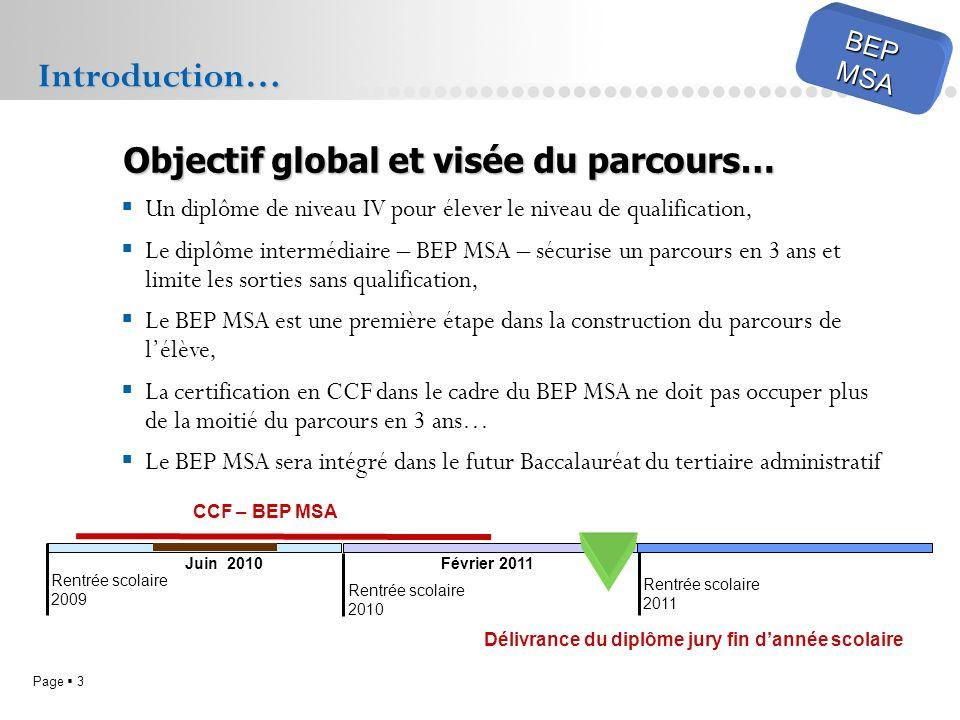 Introduction… Objectif global et visée du parcours… BEP MSA