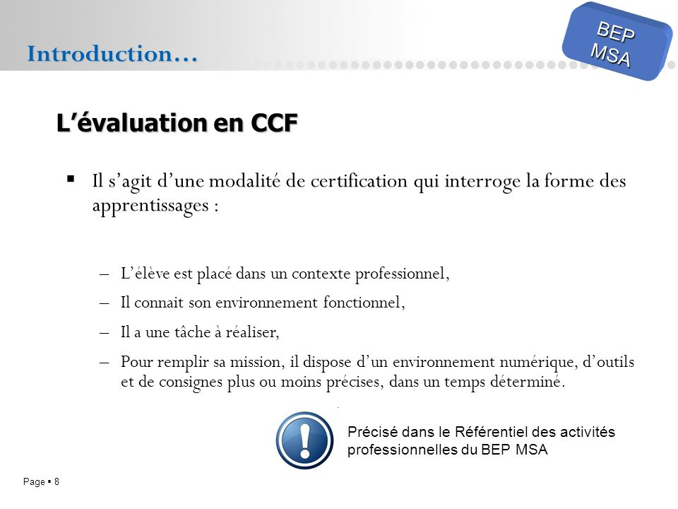 Introduction… L'évaluation en CCF
