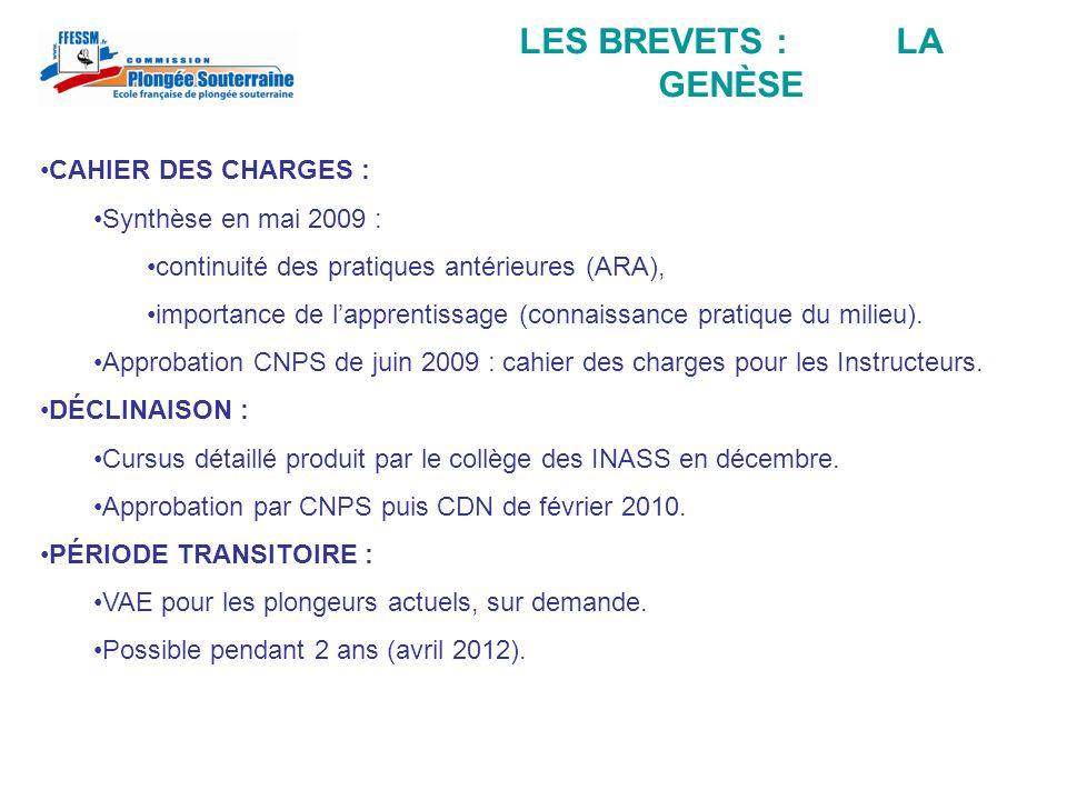 LES BREVETS : LA GENÈSE CAHIER DES CHARGES : Synthèse en mai 2009 :