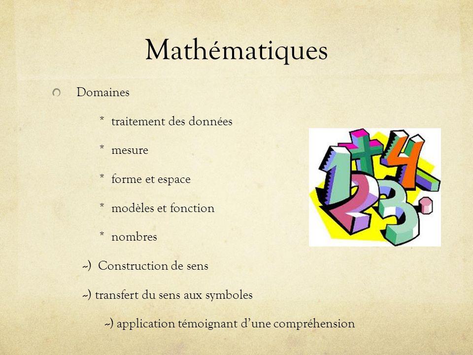 Mathématiques Domaines * traitement des données * mesure