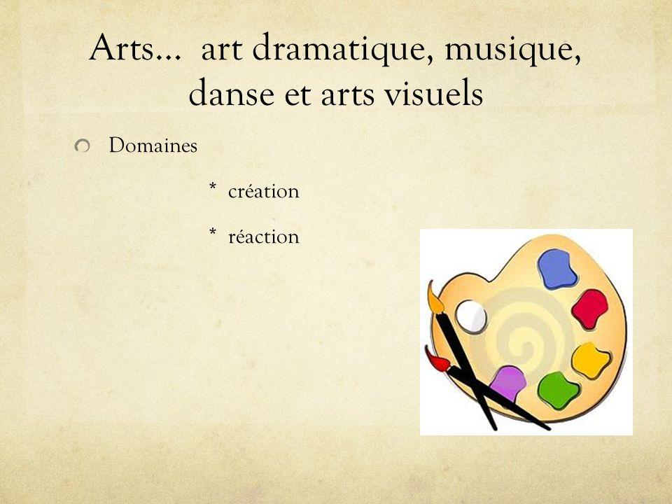 Arts… art dramatique, musique, danse et arts visuels