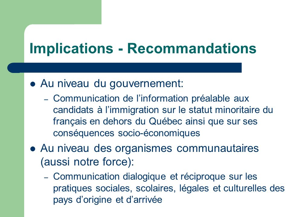 Implications - Recommandations