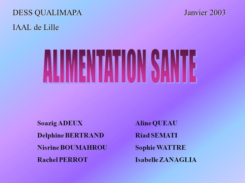 ALIMENTATION SANTE DESS QUALIMAPA Janvier 2003 IAAL de Lille