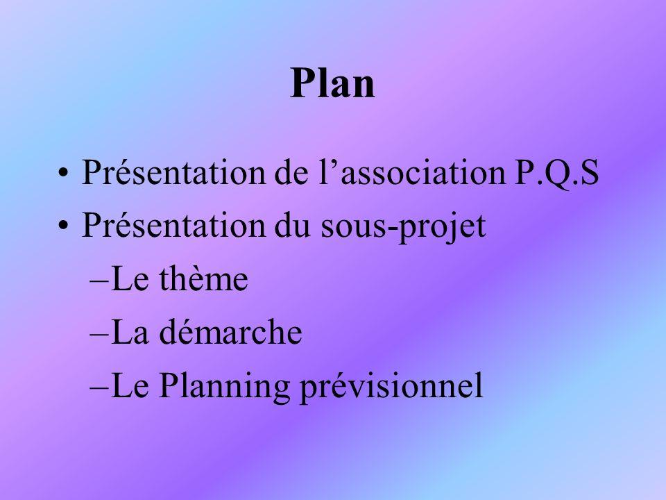 Plan Présentation de l'association P.Q.S Présentation du sous-projet