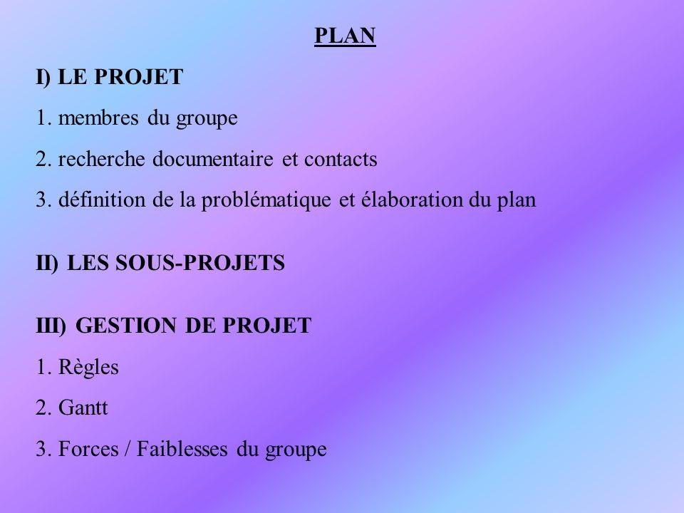 PLAN I) LE PROJET. 1. membres du groupe. 2. recherche documentaire et contacts. 3. définition de la problématique et élaboration du plan.