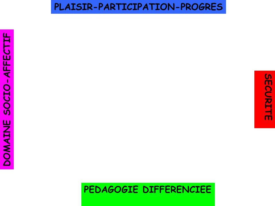 PLAISIR-PARTICIPATION-PROGRES DOMAINE SOCIO-AFFECTIF