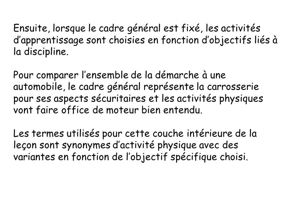 Ensuite, lorsque le cadre général est fixé, les activités d'apprentissage sont choisies en fonction d'objectifs liés à la discipline.