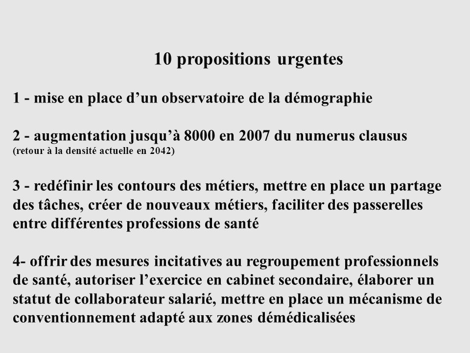 10 propositions urgentes