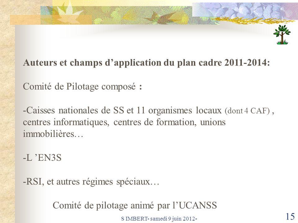 Auteurs et champs d'application du plan cadre 2011-2014: