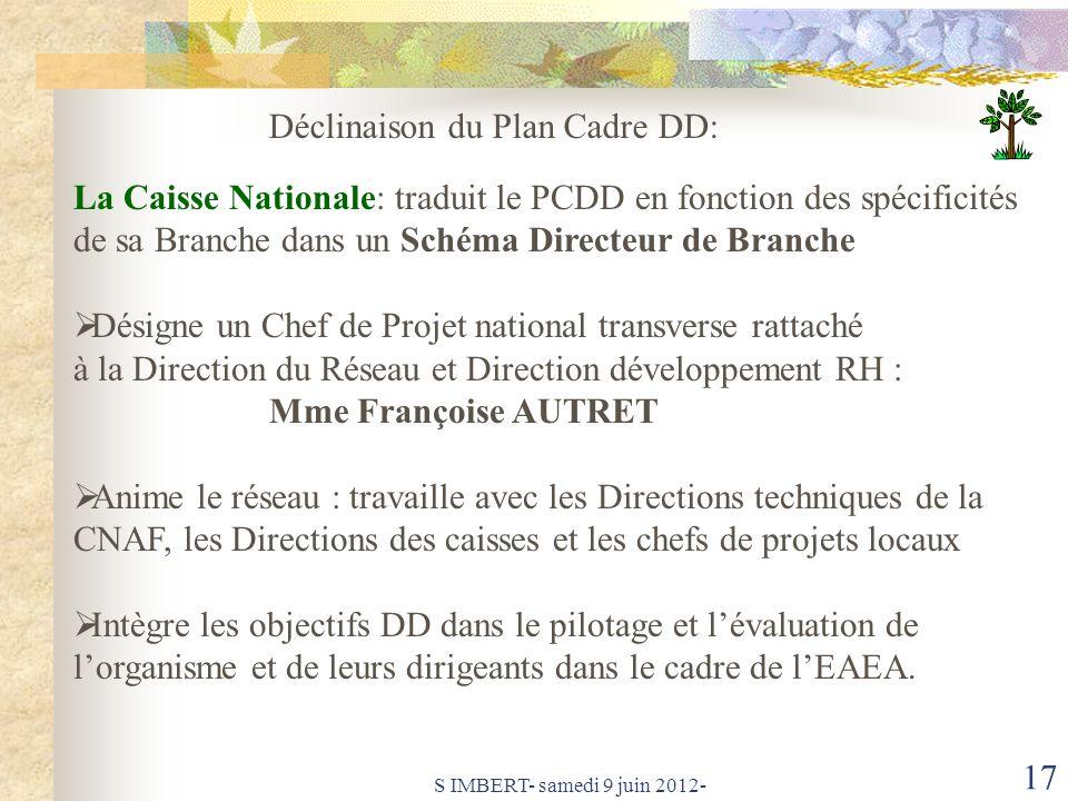Déclinaison du Plan Cadre DD:
