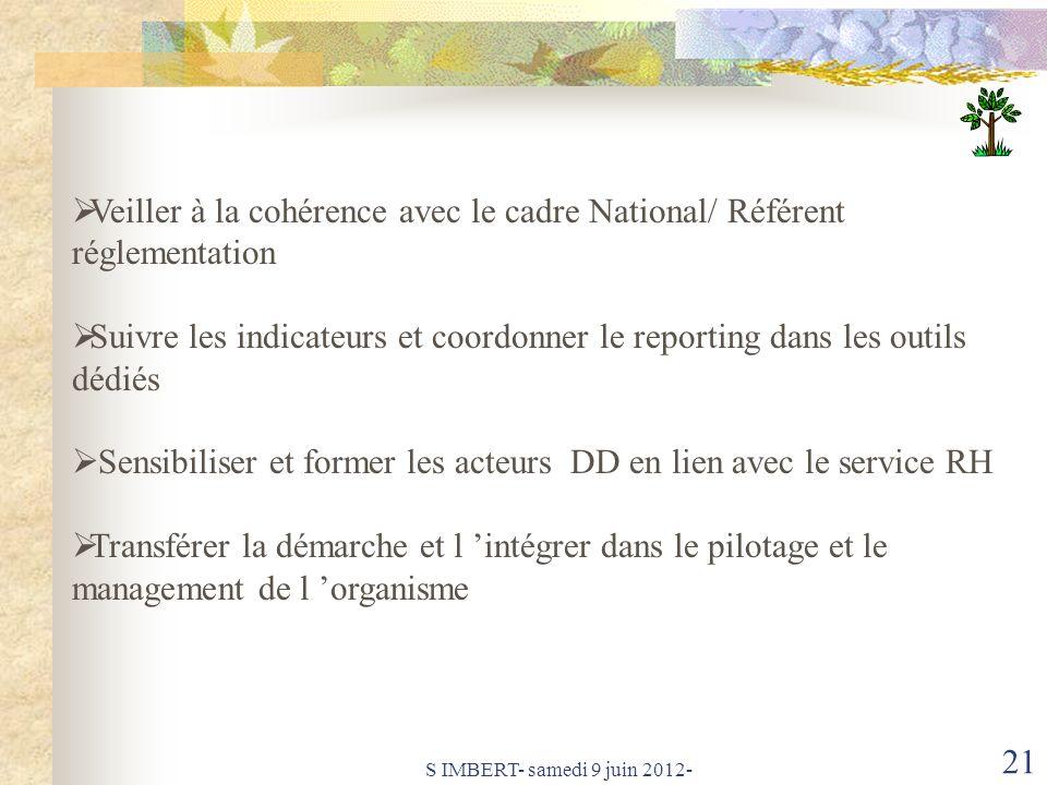 Veiller à la cohérence avec le cadre National/ Référent réglementation