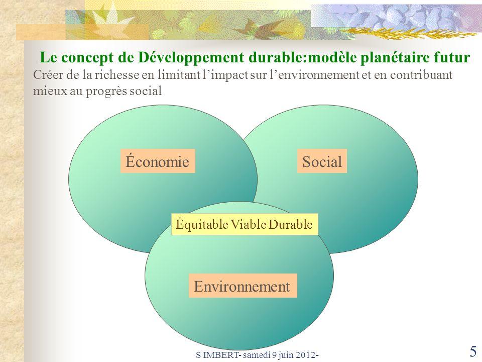 Le concept de Développement durable:modèle planétaire futur