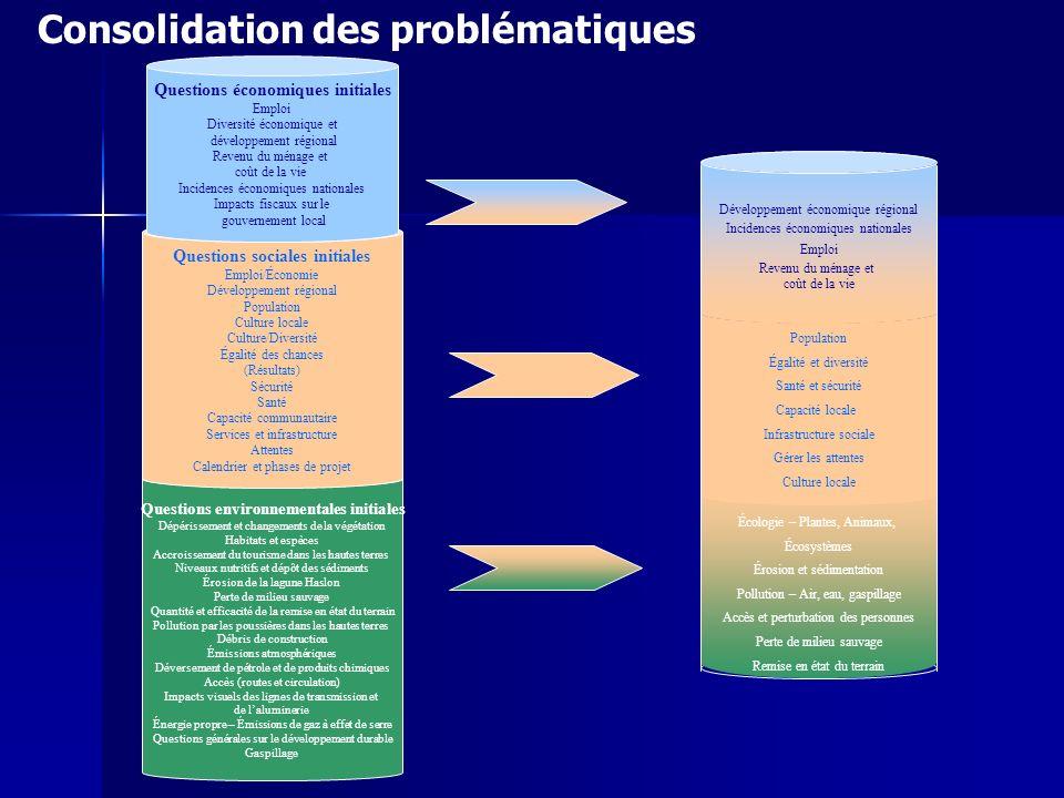 Consolidation des problématiques