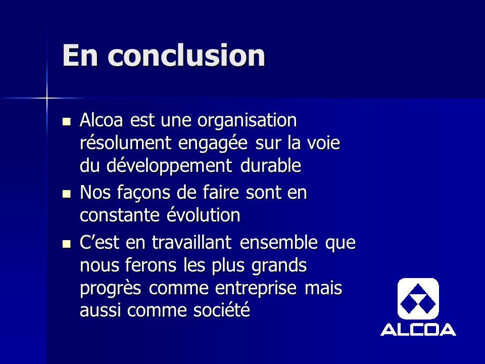 En conclusion Alcoa est une organisation résolument engagée sur la voie du développement durable. Nos façons de faire sont en constante évolution.