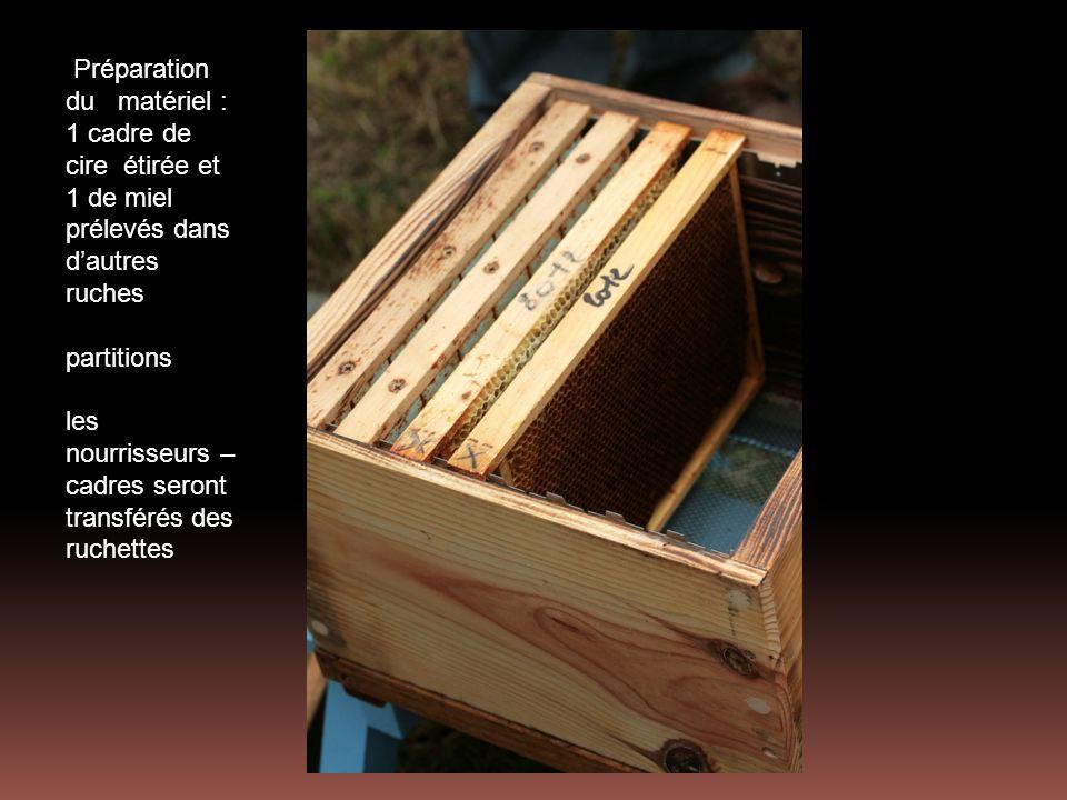 Préparation du matériel : 1 cadre de cire étirée et 1 de miel prélevés dans d'autres ruches partitions les nourrisseurs –cadres seront transférés des ruchettes