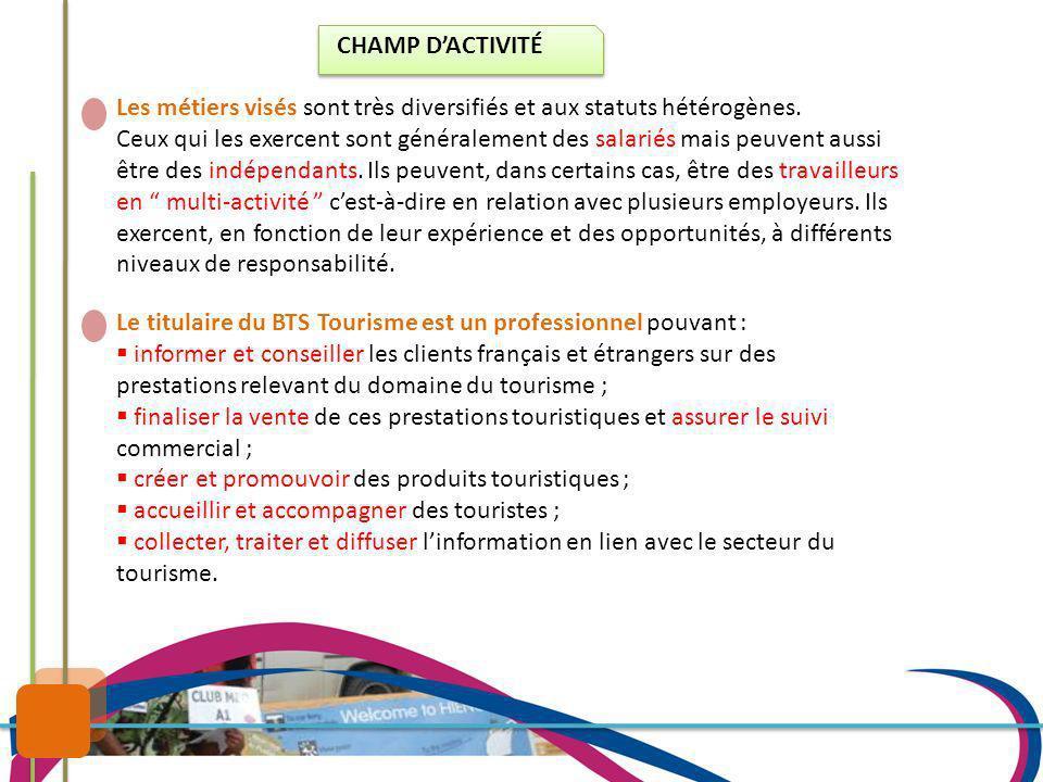 CHAMP D'ACTIVITÉ Les métiers visés sont très diversifiés et aux statuts hétérogènes.