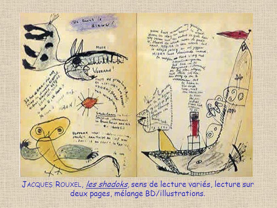 Jacques Rouxel, les shadoks, sens de lecture variés, lecture sur deux pages, mélange BD/illustrations.