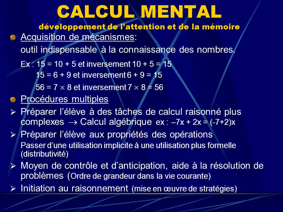 CALCUL MENTAL développement de l'attention et de la mémoire