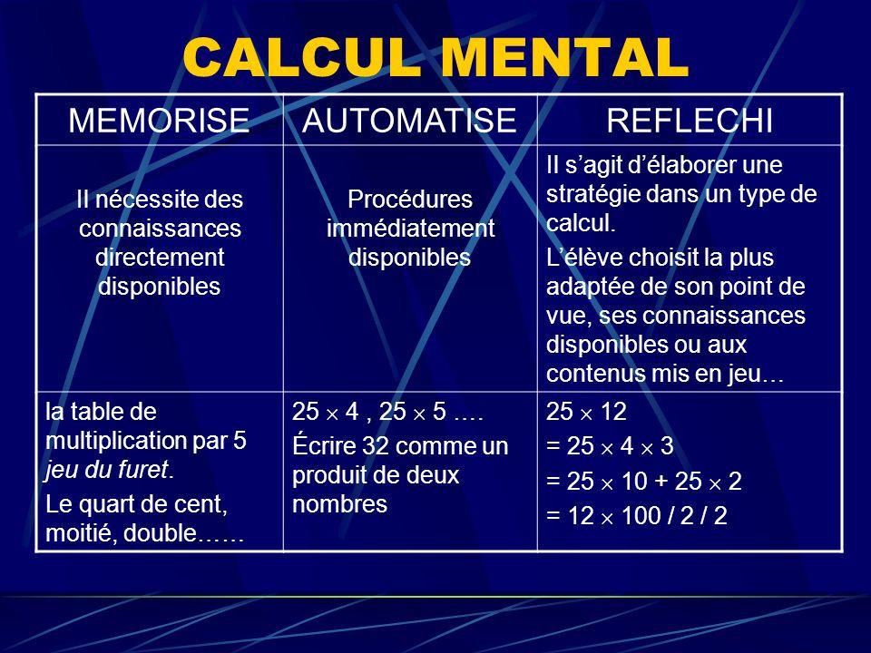 CALCUL MENTAL MEMORISE AUTOMATISE REFLECHI