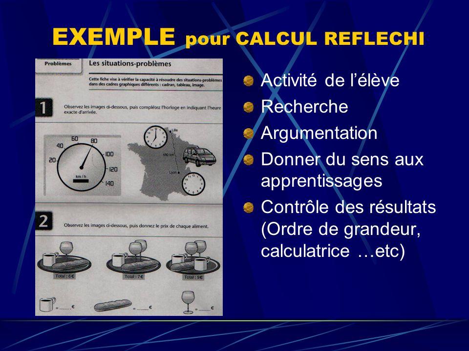 EXEMPLE pour CALCUL REFLECHI
