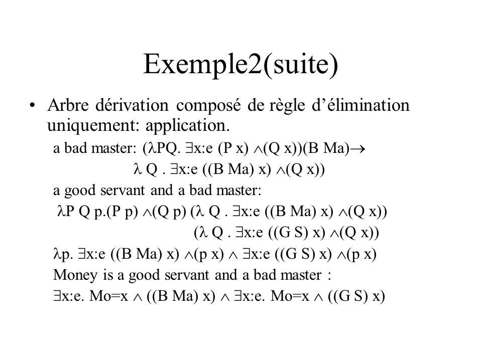 Exemple2(suite) Arbre dérivation composé de règle d'élimination uniquement: application. a bad master: (PQ. x:e (P x) (Q x))(B Ma)