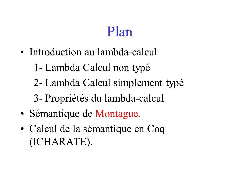 Plan Introduction au lambda-calcul 1- Lambda Calcul non typé