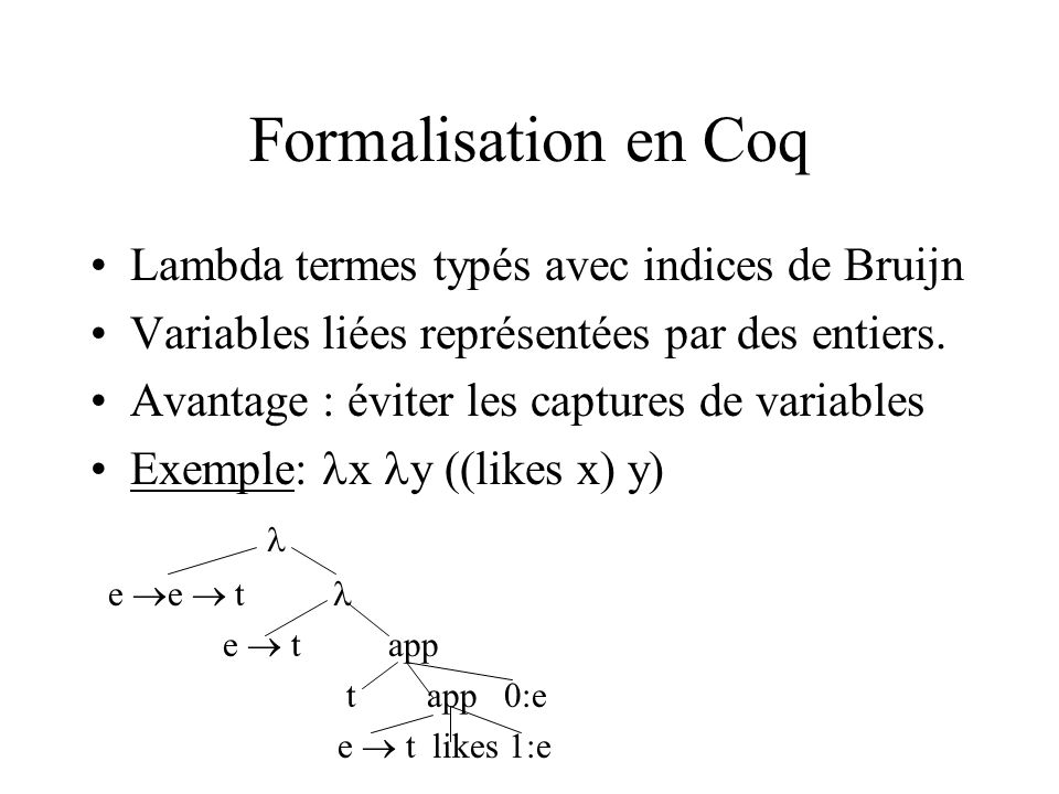 Formalisation en Coq Lambda termes typés avec indices de Bruijn