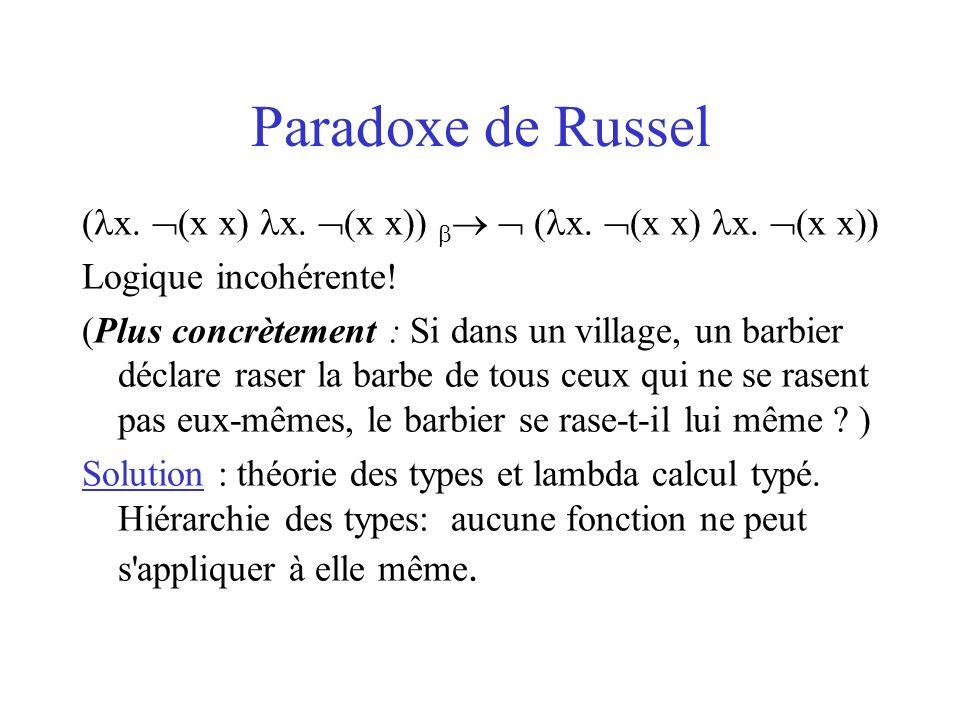 Paradoxe de Russel (x. (x x) x. (x x))   (x. (x x) x. (x x)) Logique incohérente!