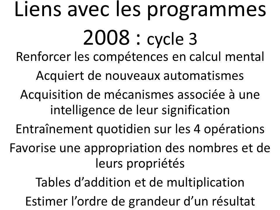 Liens avec les programmes 2008 : cycle 3