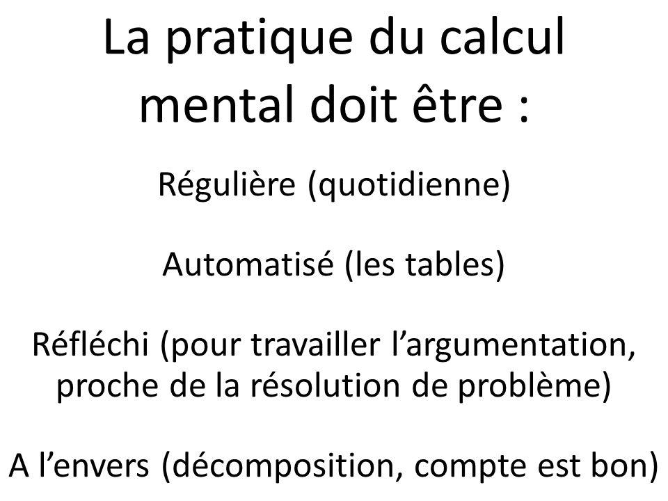 La pratique du calcul mental doit être :