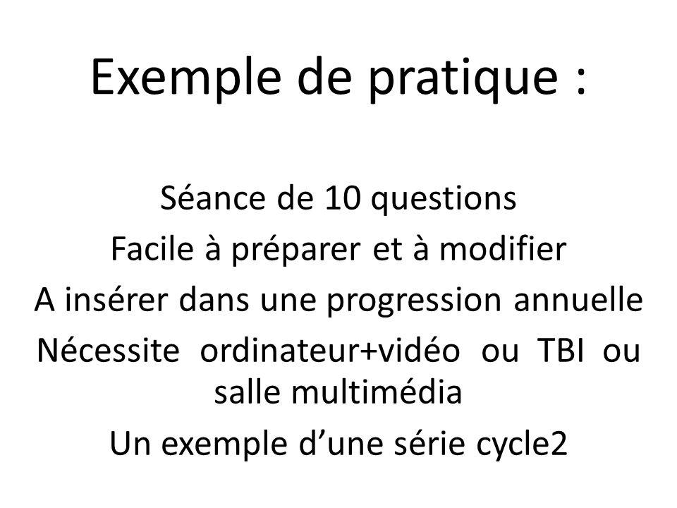 Exemple de pratique : Séance de 10 questions