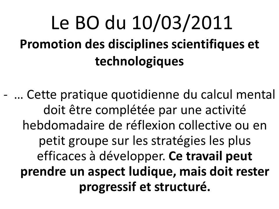 24/08/12 Le BO du 10/03/2011 Promotion des disciplines scientifiques et technologiques.