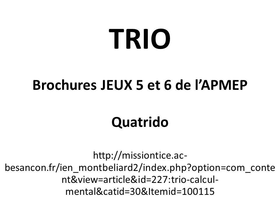 Brochures JEUX 5 et 6 de l'APMEP