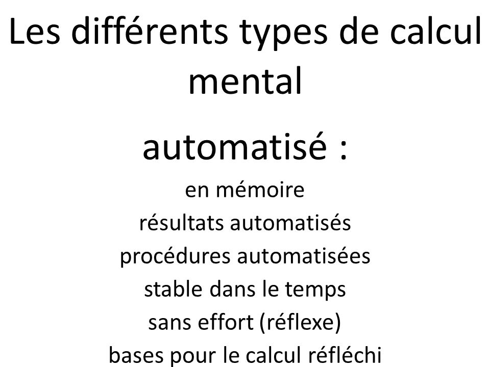 Les différents types de calcul mental