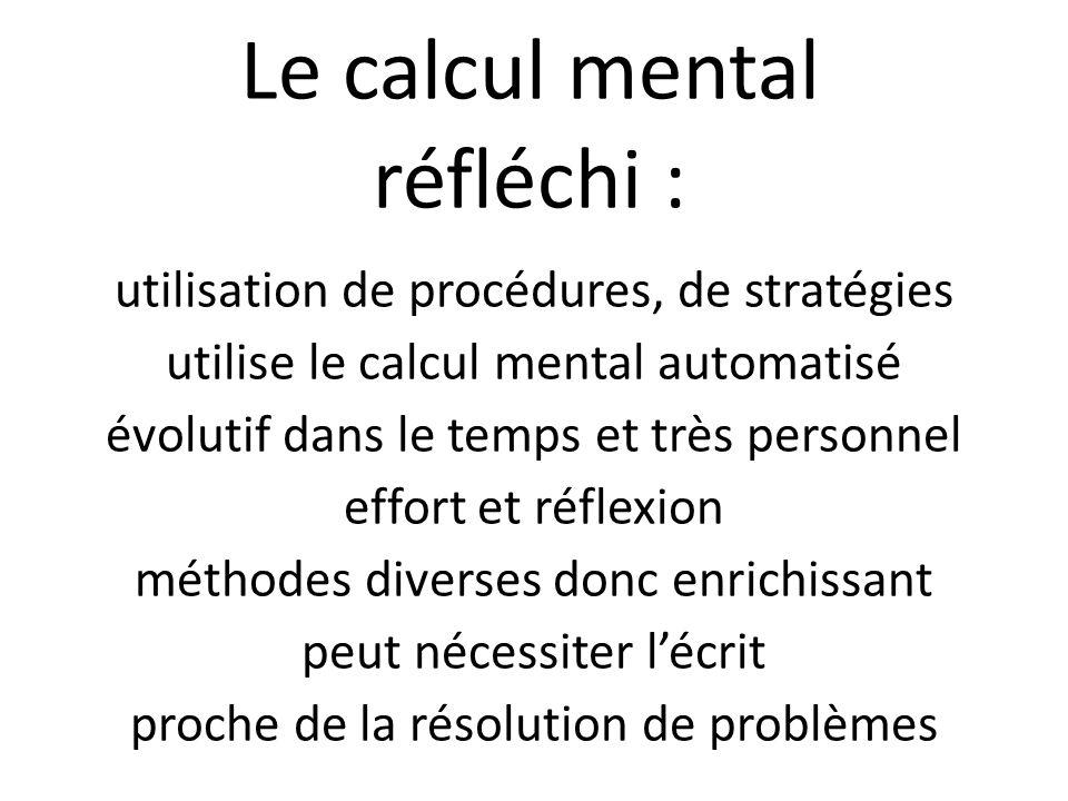 Le calcul mental réfléchi :