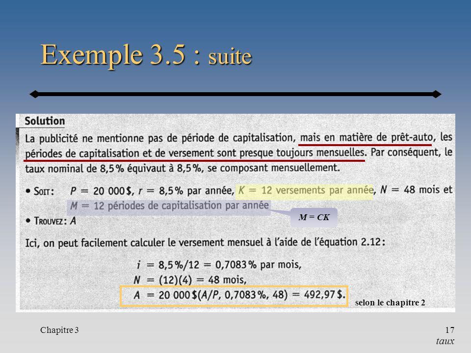 Exemple 3.5 : suite M = CK selon le chapitre 2 Chapitre 3 taux