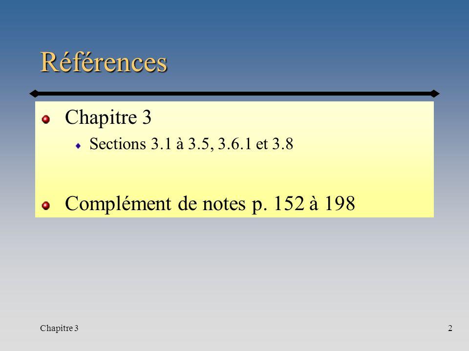 Références Chapitre 3 Complément de notes p. 152 à 198