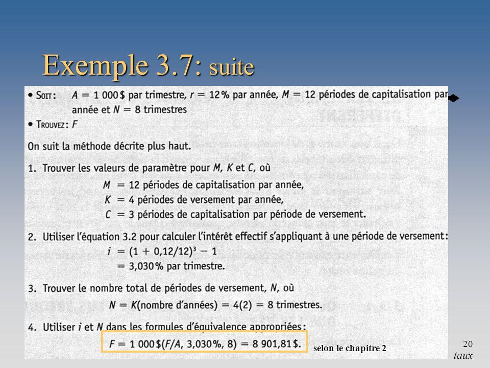 Exemple 3.7: suite selon le chapitre 2 Chapitre 3 taux