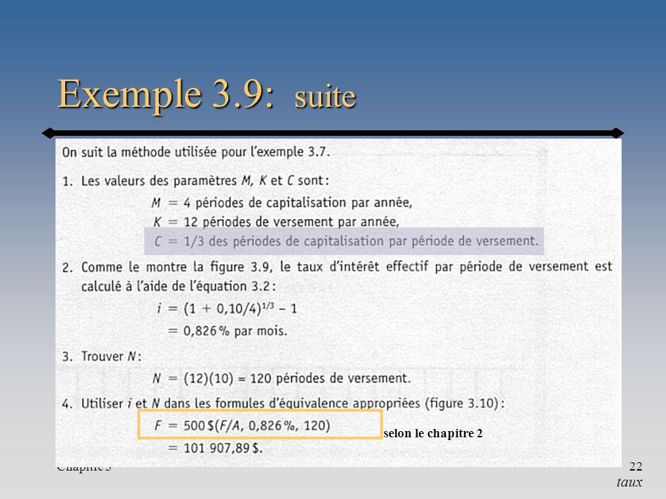 Exemple 3.9: suite selon le chapitre 2 Chapitre 3 taux